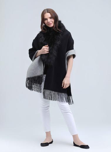 Silk and Cashmere Kaşmir Karişimli Rose Kürk Detayli Şal Siyah